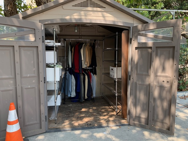 The new Donated Clothing location, known affectionately as The J-Shed after Justin and Joelle, the two volunteers who helped set it up, with help from Scotty Hanna, St James Eagle Scout candidate.